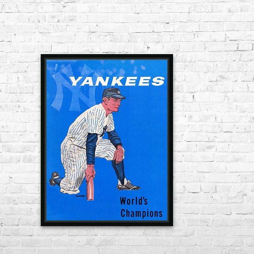 1958 New York Yankees Vintage Baseball Art HD Sublimation Metal print with Decorating Float Frame (BOX)