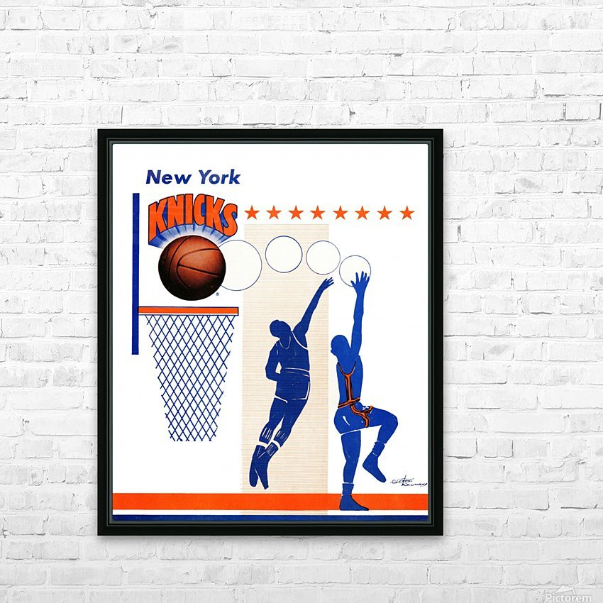 George Kalinsky Art Vintage New York Knicks Poster Reproduction Sports Art HD Sublimation Metal print with Decorating Float Frame (BOX)