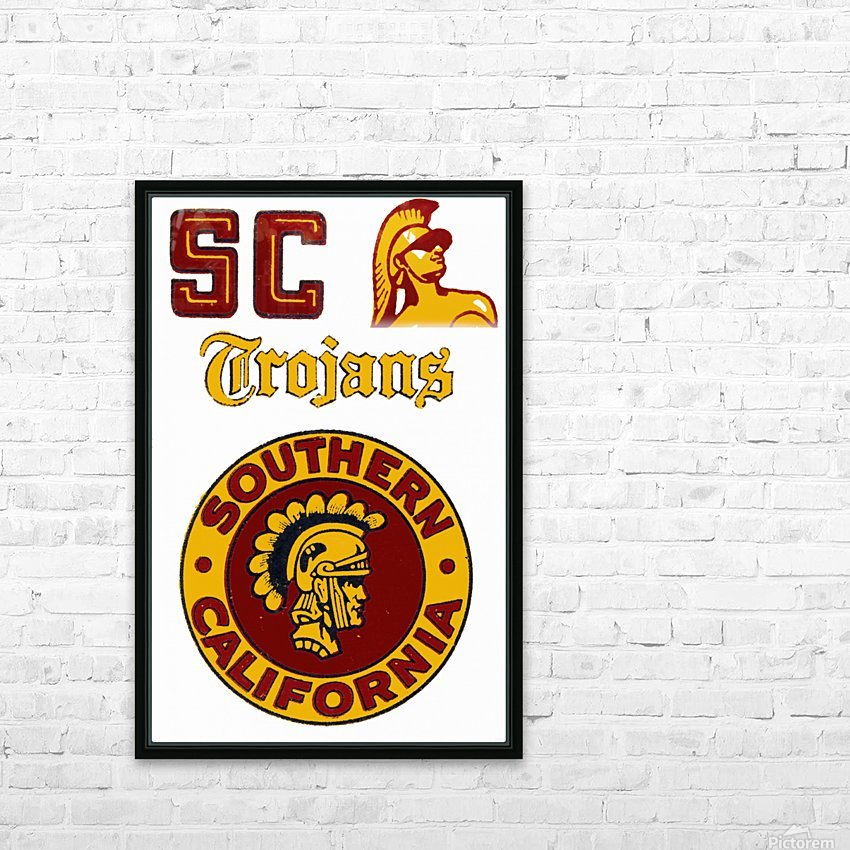 1954 USC Trojans Vintage College Art Poster Collection HD Sublimation Metal print with Decorating Float Frame (BOX)