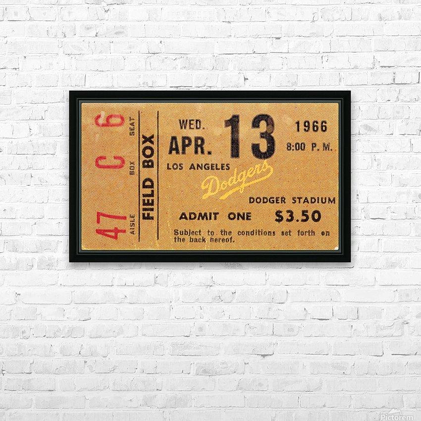 1966 la dodgers baseball ticket stub canvas art HD Sublimation Metal print with Decorating Float Frame (BOX)