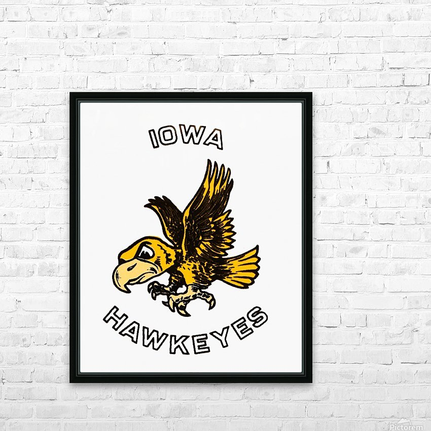 vintage iowa hawkeyes wood signs college mascot art HD Sublimation Metal print with Decorating Float Frame (BOX)