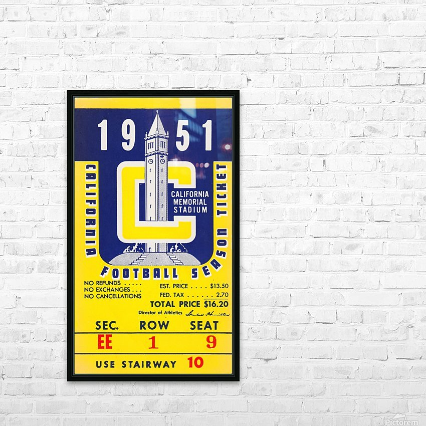 1951 college football season ticket cal bears row 1 HD Sublimation Metal print with Decorating Float Frame (BOX)