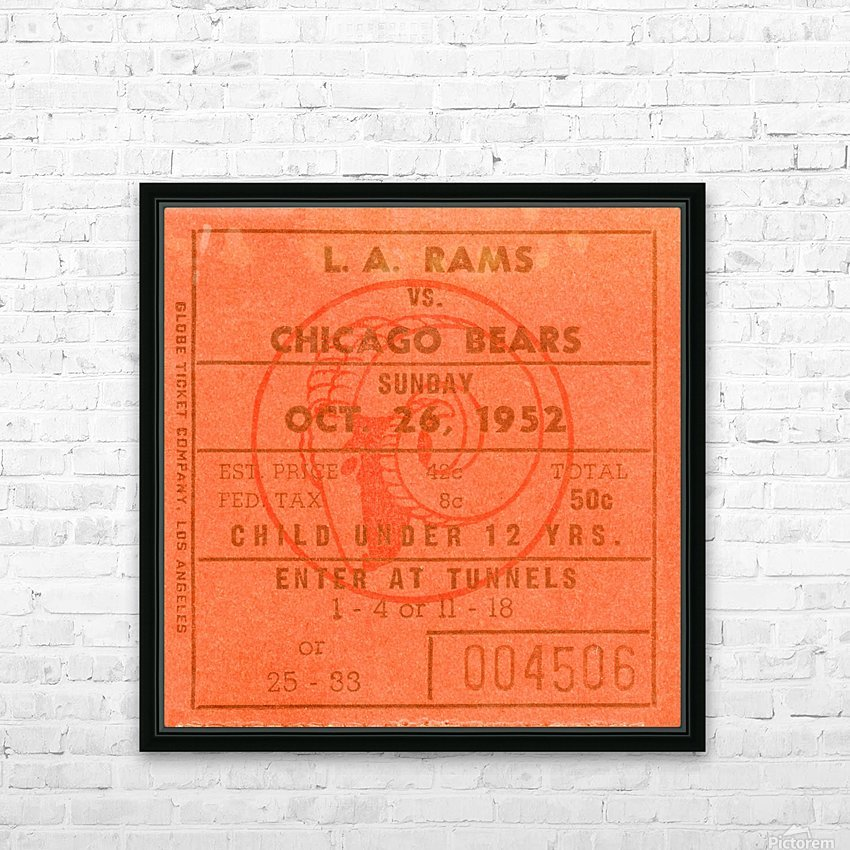 1952 la rams chicago bears nfl ticket art wood print HD Sublimation Metal print with Decorating Float Frame (BOX)