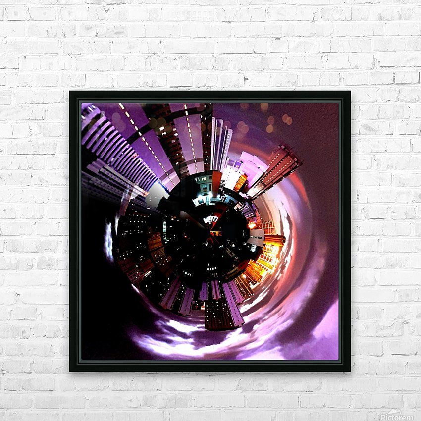 Urban on tiny planet design HD Sublimation Metal print with Decorating Float Frame (BOX)
