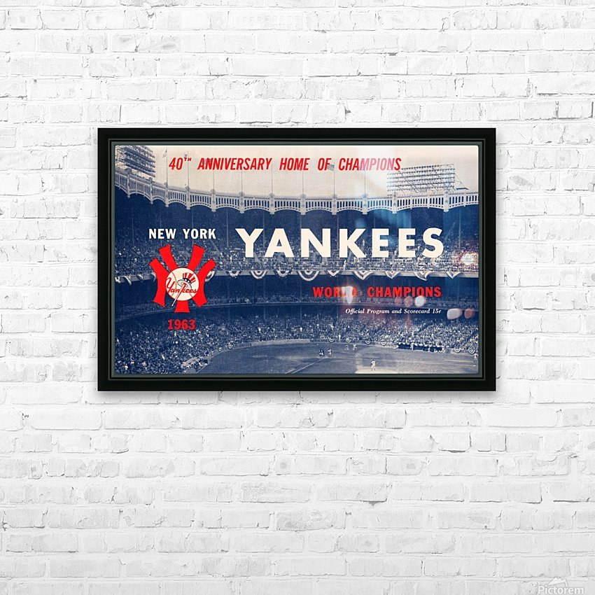 1963 new york yankees world champions scorecard canvas HD Sublimation Metal print with Decorating Float Frame (BOX)