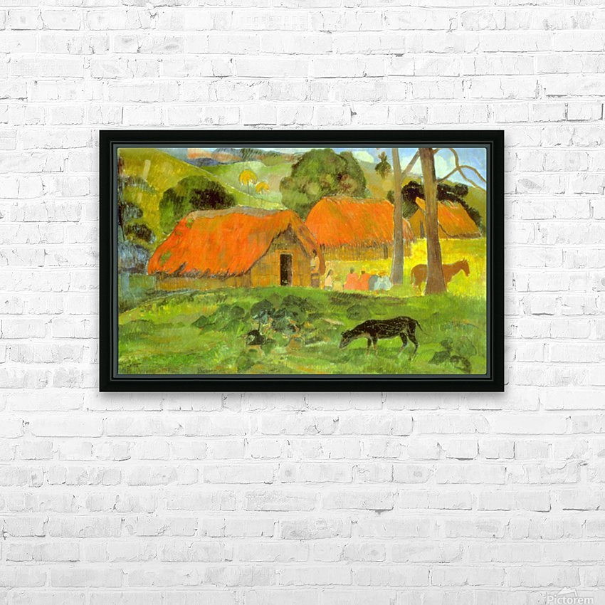 Le Trois Huttes by Gauguin HD Sublimation Metal print with Decorating Float Frame (BOX)
