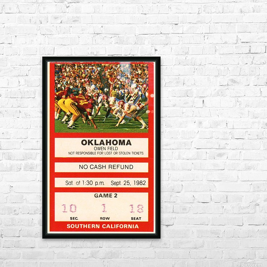 1982 USC vs. Oklahoma HD Sublimation Metal print with Decorating Float Frame (BOX)