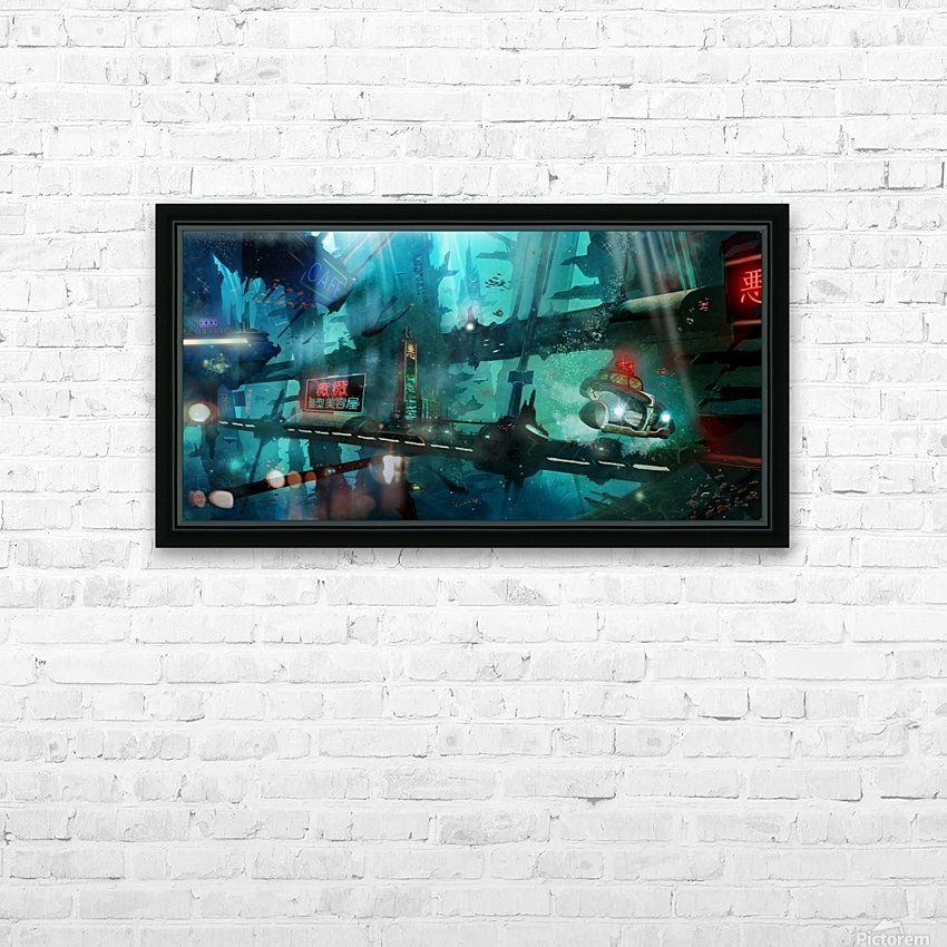 Future Noir - Abyss City HD Sublimation Metal print with Decorating Float Frame (BOX)