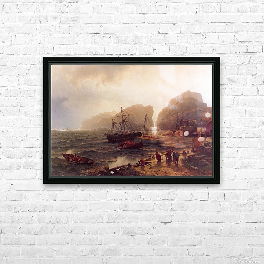 Nodhavn Ved Norskekysten HD Sublimation Metal print with Decorating Float Frame (BOX)
