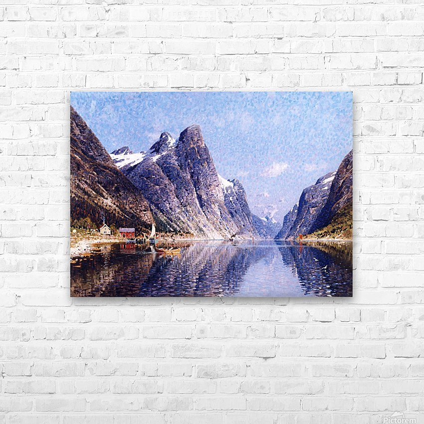 A Norwegian Fjord Scene HD Sublimation Metal print with Decorating Float Frame (BOX)