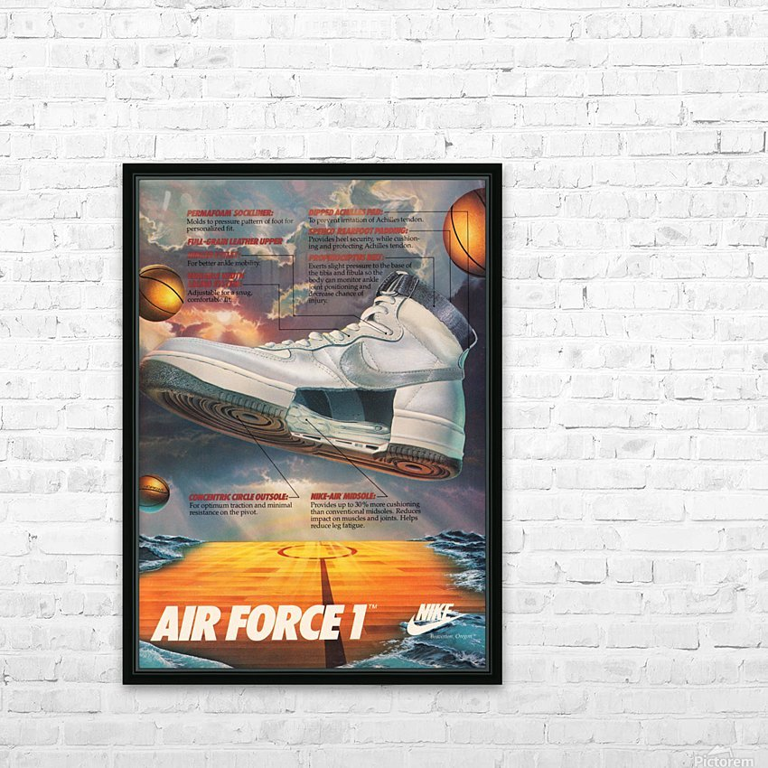 1984 Nike Air Force 1 Shoe Advertisement  HD Sublimation Metal print with Decorating Float Frame (BOX)