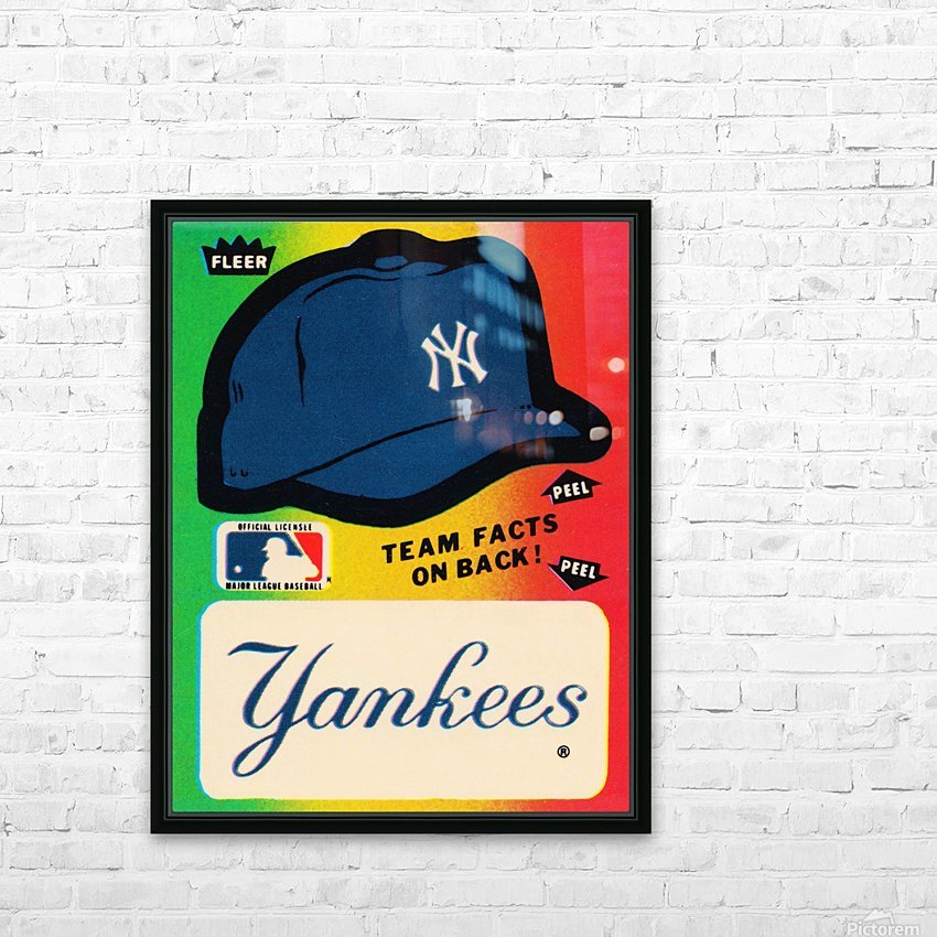 1982 fleer sticker new york yankees hat HD Sublimation Metal print with Decorating Float Frame (BOX)