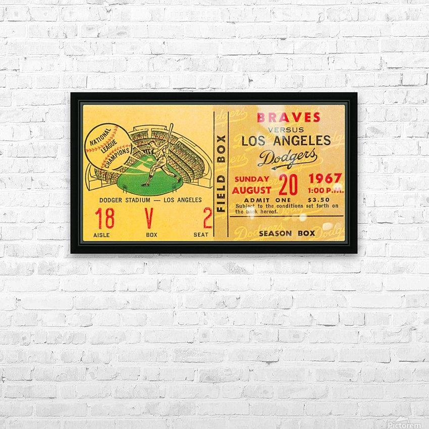 1967 LA Dodgers vs. Atlanta Braves Baseball Ticket Canvas HD Sublimation Metal print with Decorating Float Frame (BOX)