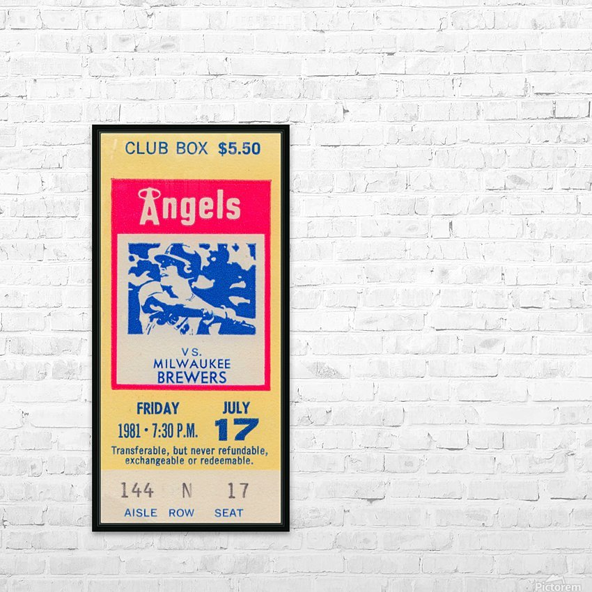 1981 california angels baseball ticket stub sports wall art HD Sublimation Metal print with Decorating Float Frame (BOX)