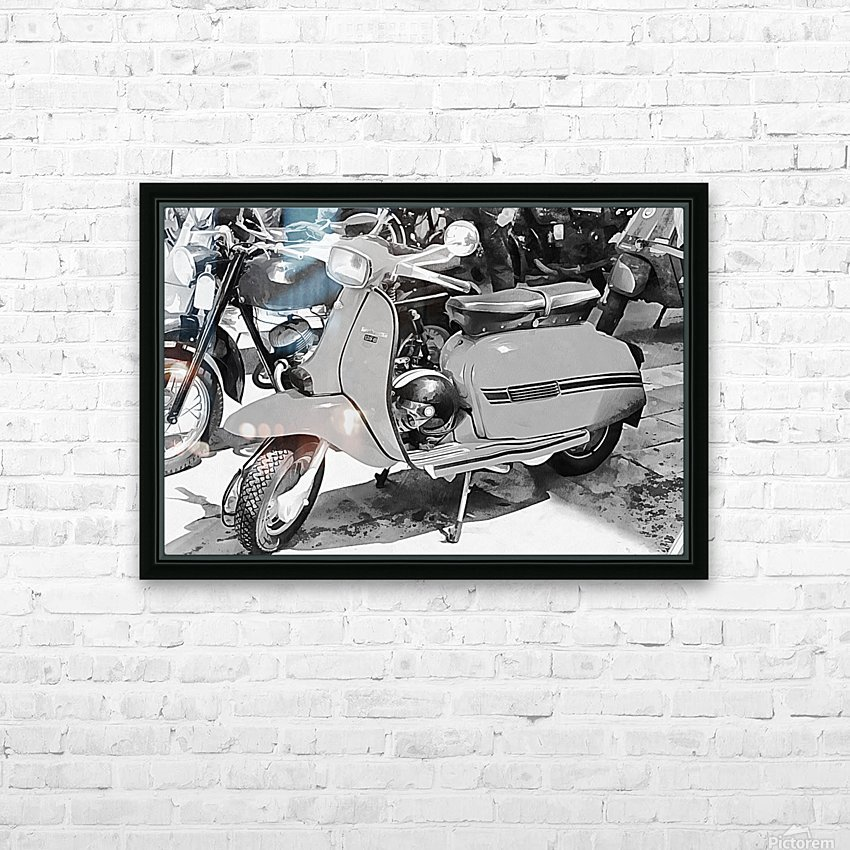 Lambretta Scooter Black and White HD Sublimation Metal print with Decorating Float Frame (BOX)