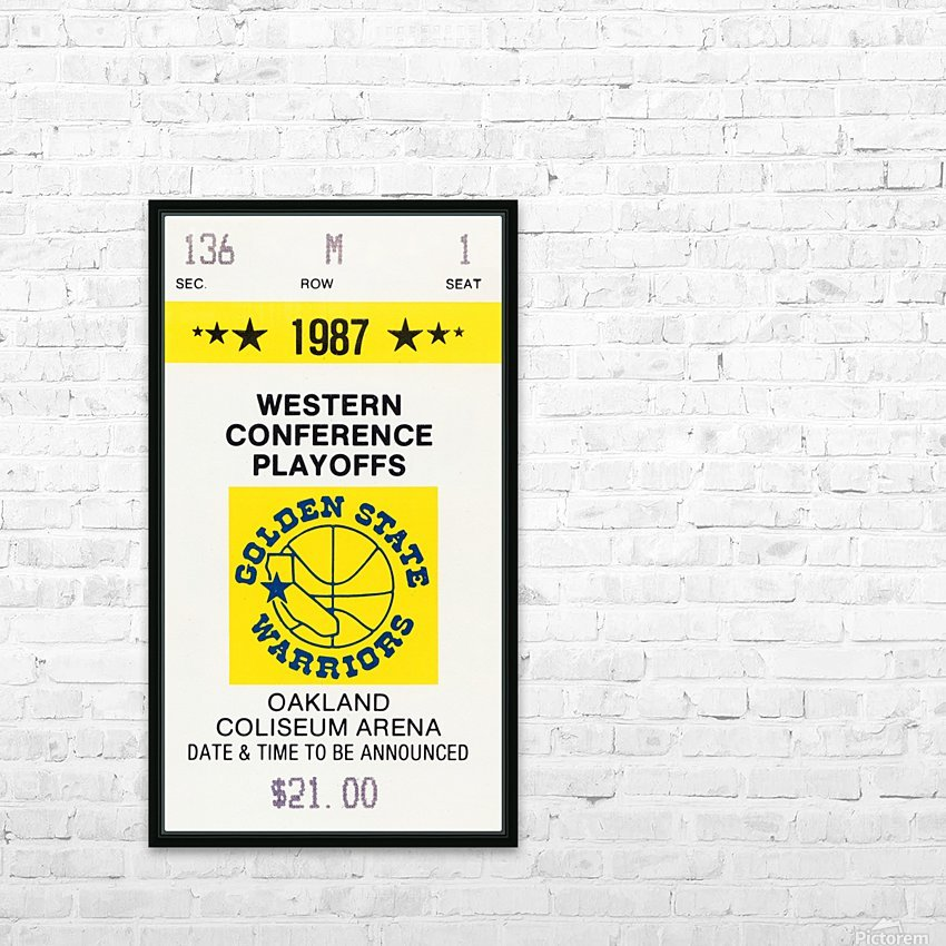 1987 golden state warriors nba basketball ticket art oakland coliseum HD Sublimation Metal print with Decorating Float Frame (BOX)