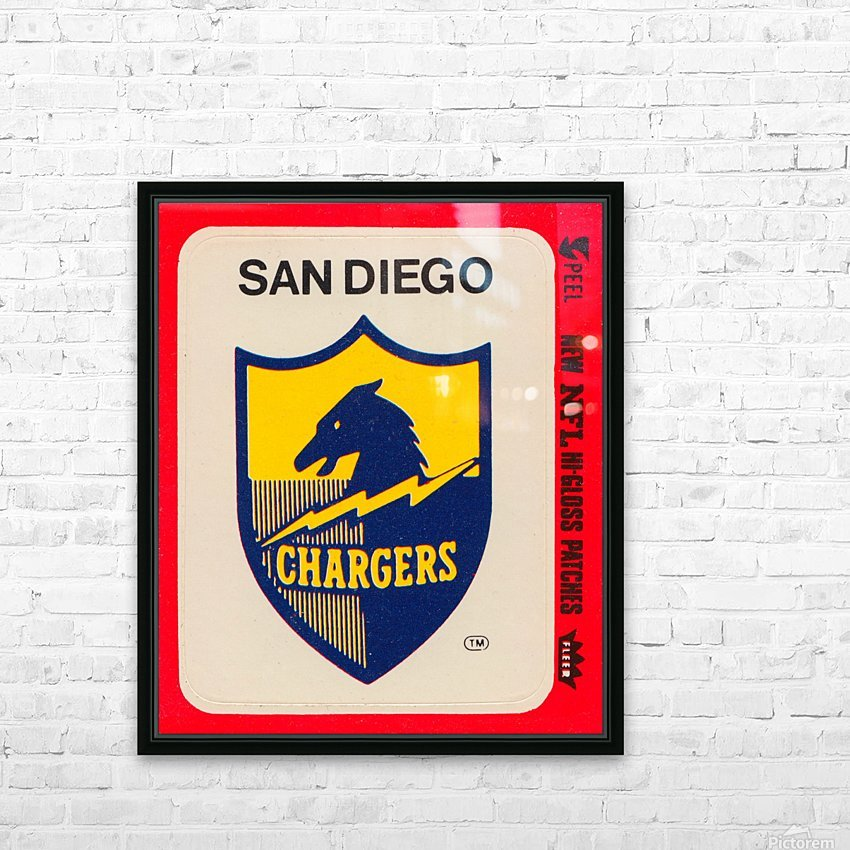 1981 fleer nfl high gloss patch san diego chargers sticker reproduction poster HD Sublimation Metal print with Decorating Float Frame (BOX)