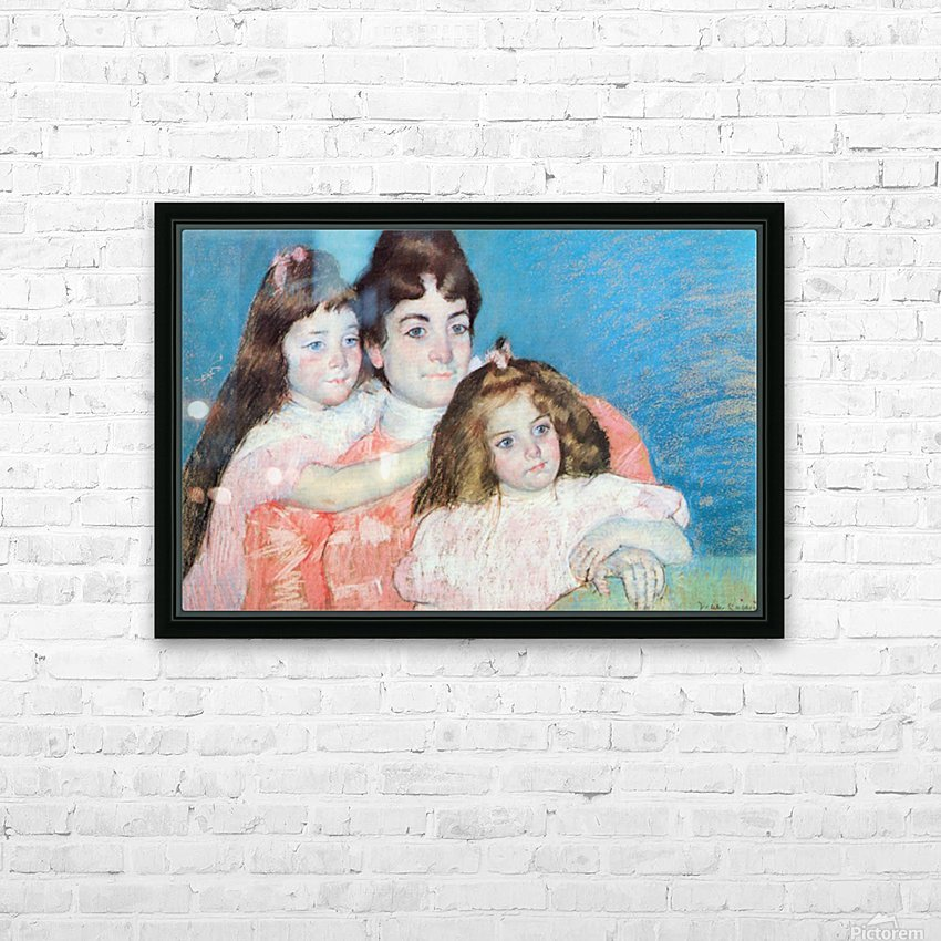 Madame A.F. Aude with her two daughters by Cassatt HD Sublimation Metal print with Decorating Float Frame (BOX)
