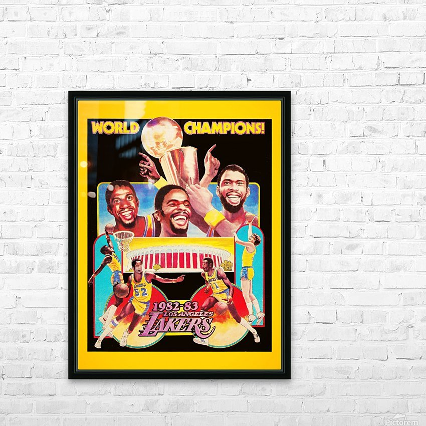 1982 LA Lakers Champion Poster HD Sublimation Metal print with Decorating Float Frame (BOX)