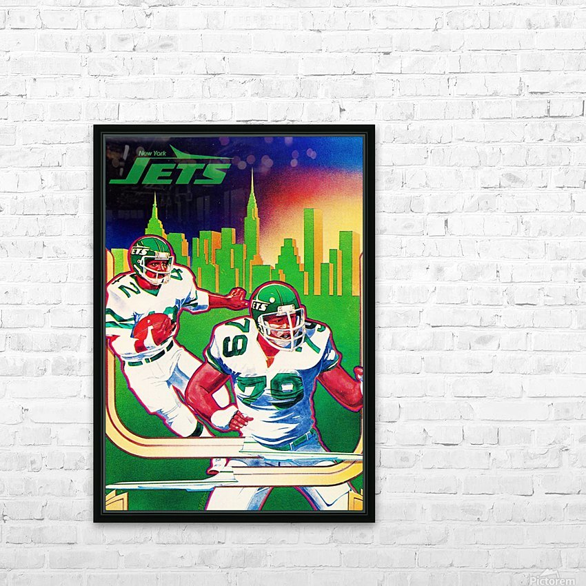 1981 new york jets nyc cityscape football poster HD Sublimation Metal print with Decorating Float Frame (BOX)