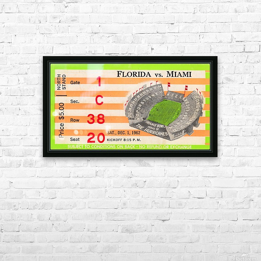 1962 Miami vs. Florida  HD Sublimation Metal print with Decorating Float Frame (BOX)