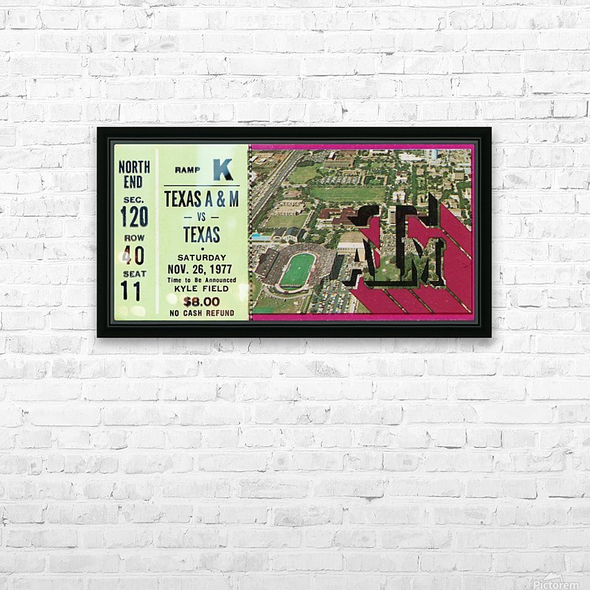1977 texas am aggies college station football ticket stub wall art HD Sublimation Metal print with Decorating Float Frame (BOX)