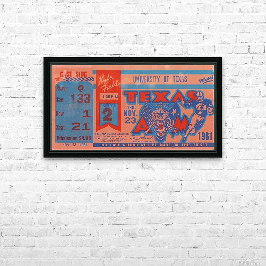 1961 texas am aggies football ticket wall art HD Sublimation Metal print with Decorating Float Frame (BOX)