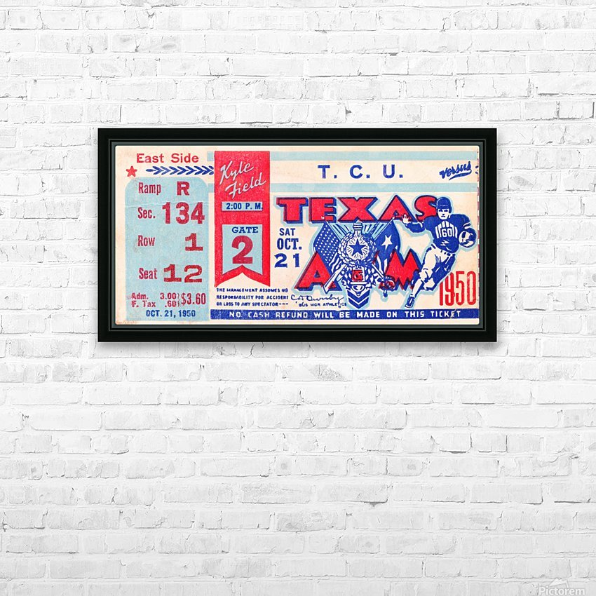 1950 texas am aggies tcu football ticket stub art kyle field college station HD Sublimation Metal print with Decorating Float Frame (BOX)
