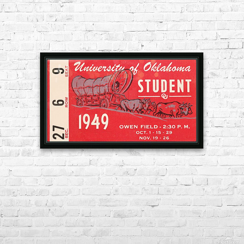 1949 oklahoma sooners football student season ticket art HD Sublimation Metal print with Decorating Float Frame (BOX)