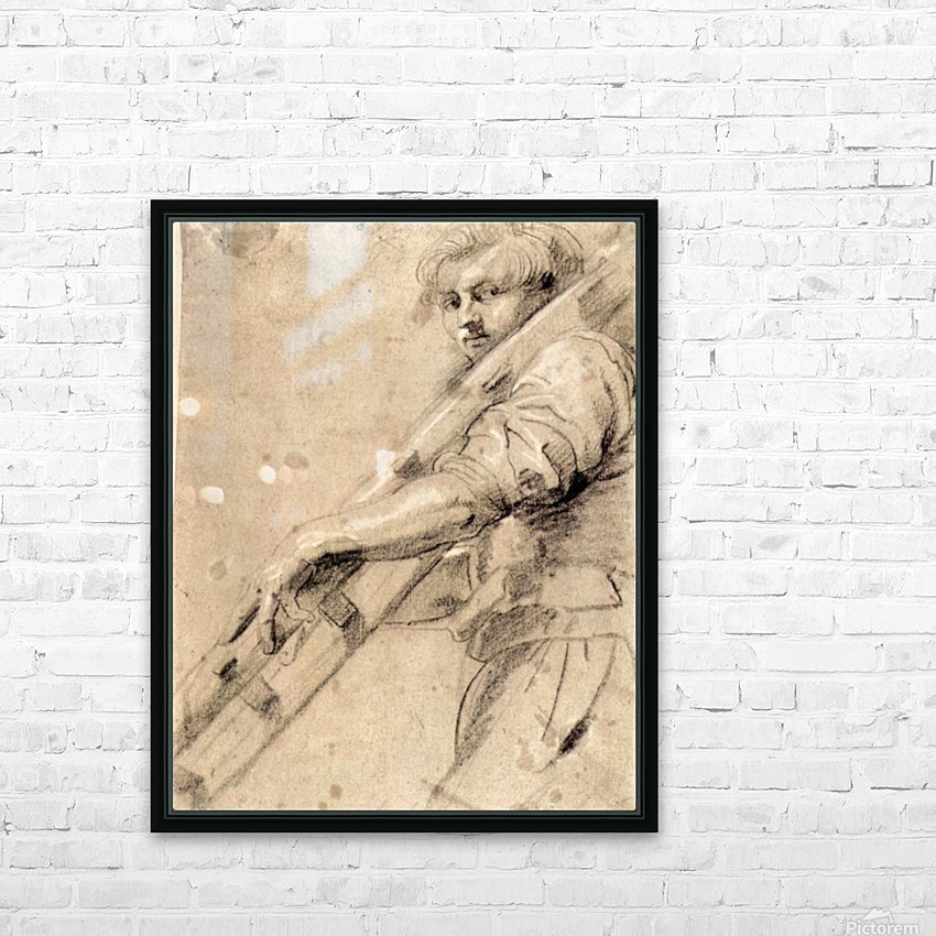 Man carrying a ladder by Rubens HD Sublimation Metal print with Decorating Float Frame (BOX)