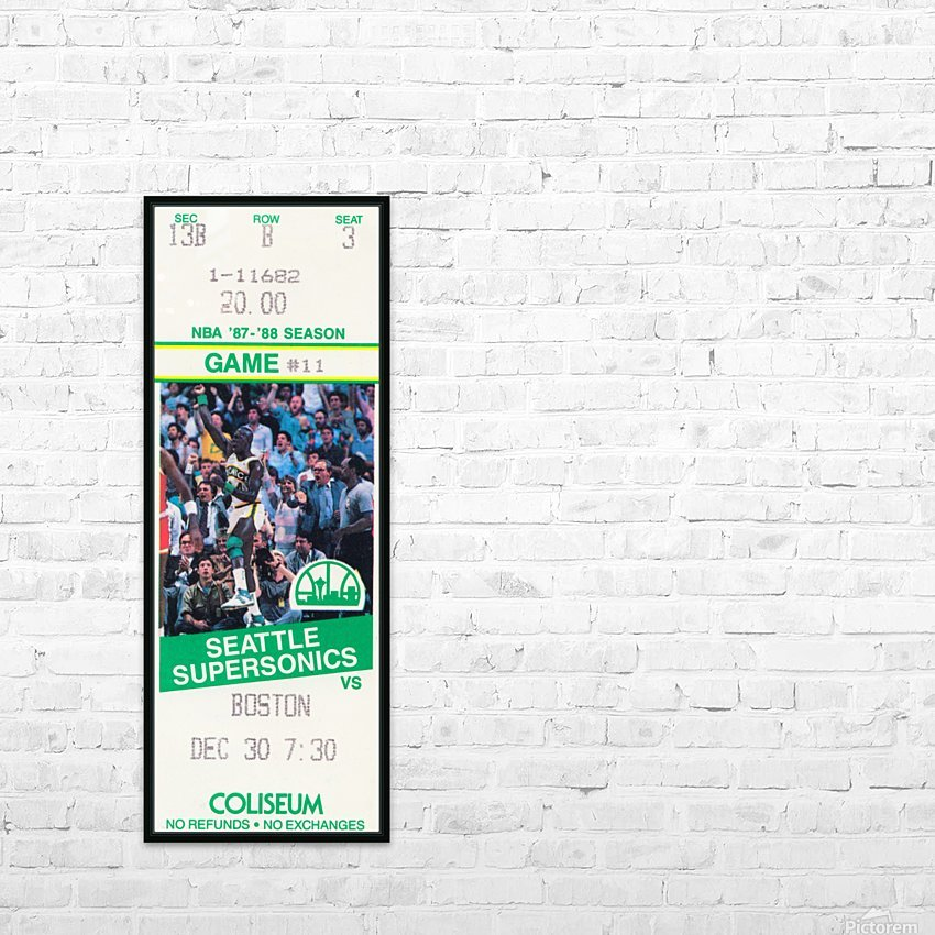 1987 seattle supersonics boston celtics ticket art HD Sublimation Metal print with Decorating Float Frame (BOX)