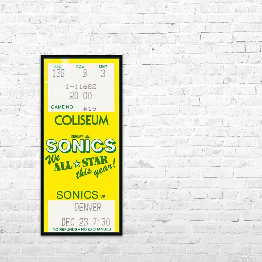 1986 seattle supersonics ticket stub canvas art HD Sublimation Metal print with Decorating Float Frame (BOX)