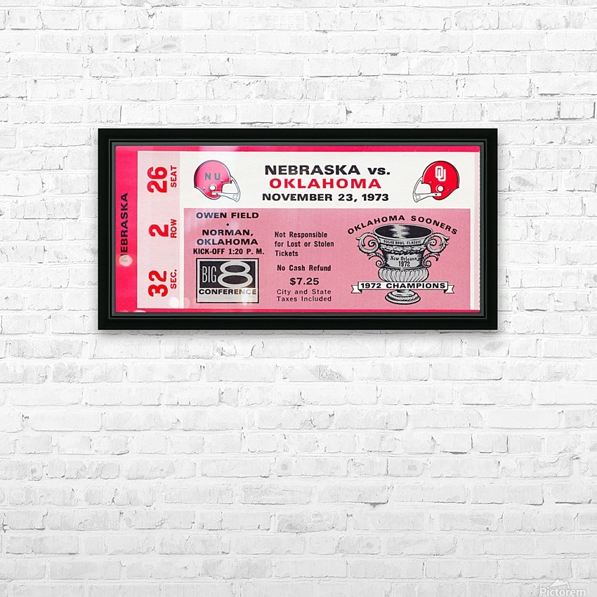 1973 oklahoma sooners nebraska cornhuskers owen field norman college football ticket art HD Sublimation Metal print with Decorating Float Frame (BOX)