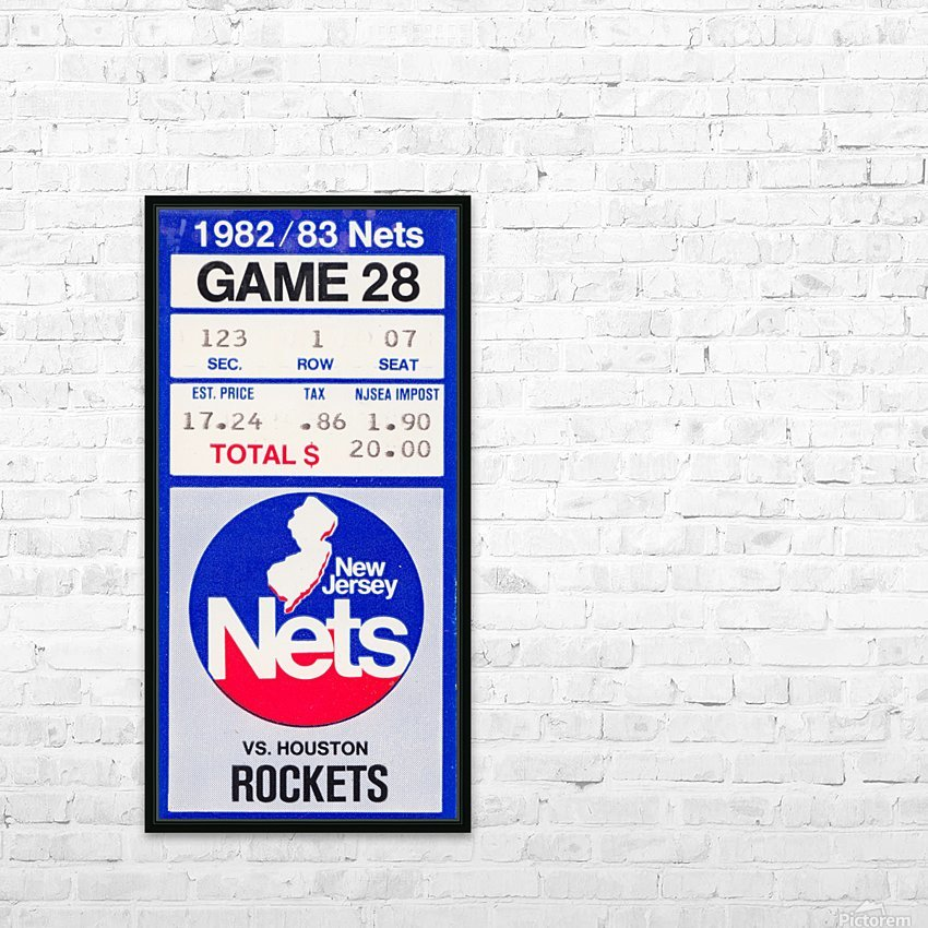 1982 houston rockets new jersey nets nba basketball ticket stub wall art HD Sublimation Metal print with Decorating Float Frame (BOX)