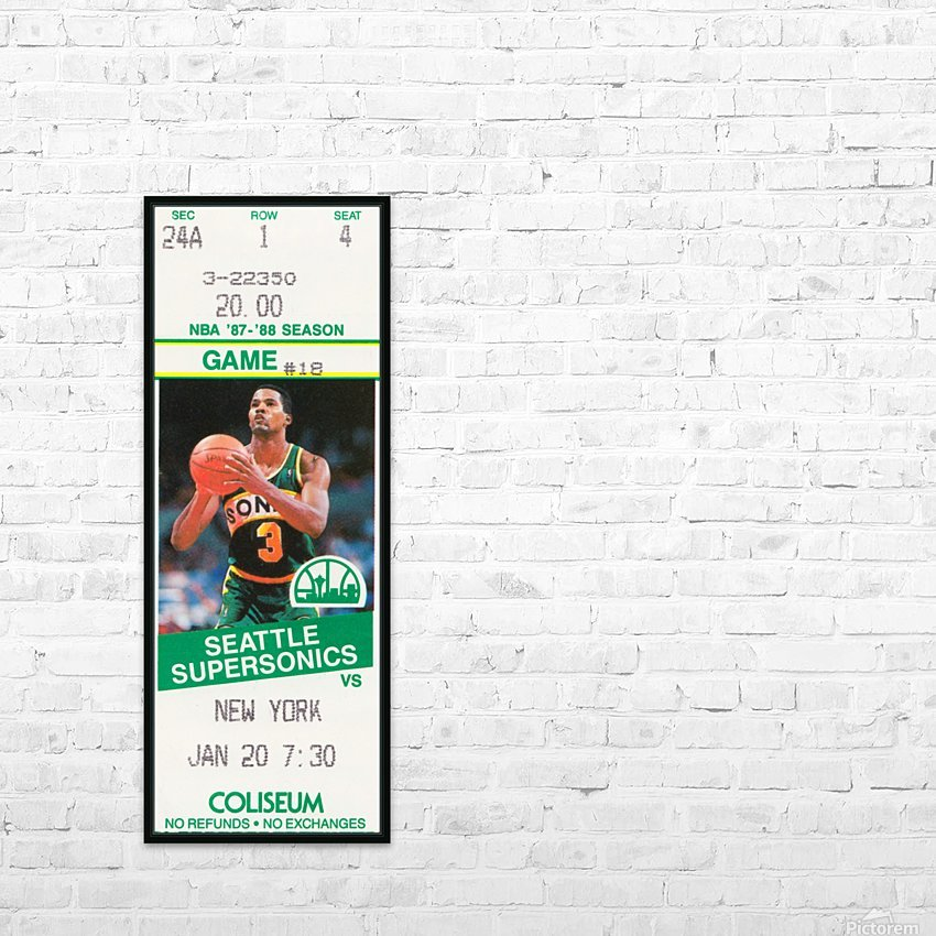 1987 seattle supersonics new york knicks basketball ticket stub canvas art HD Sublimation Metal print with Decorating Float Frame (BOX)