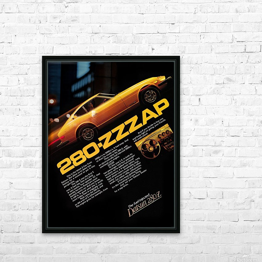 1977 datsun 280 z retro car ad poster HD Sublimation Metal print with Decorating Float Frame (BOX)