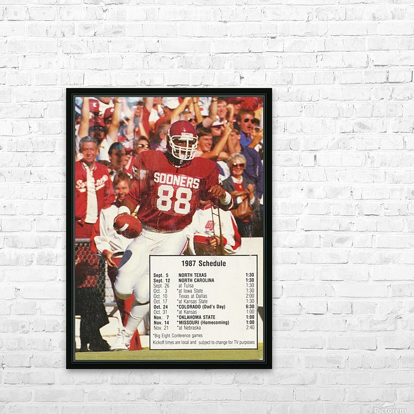 1987 oklahoma sooners football schedule poster HD Sublimation Metal print with Decorating Float Frame (BOX)