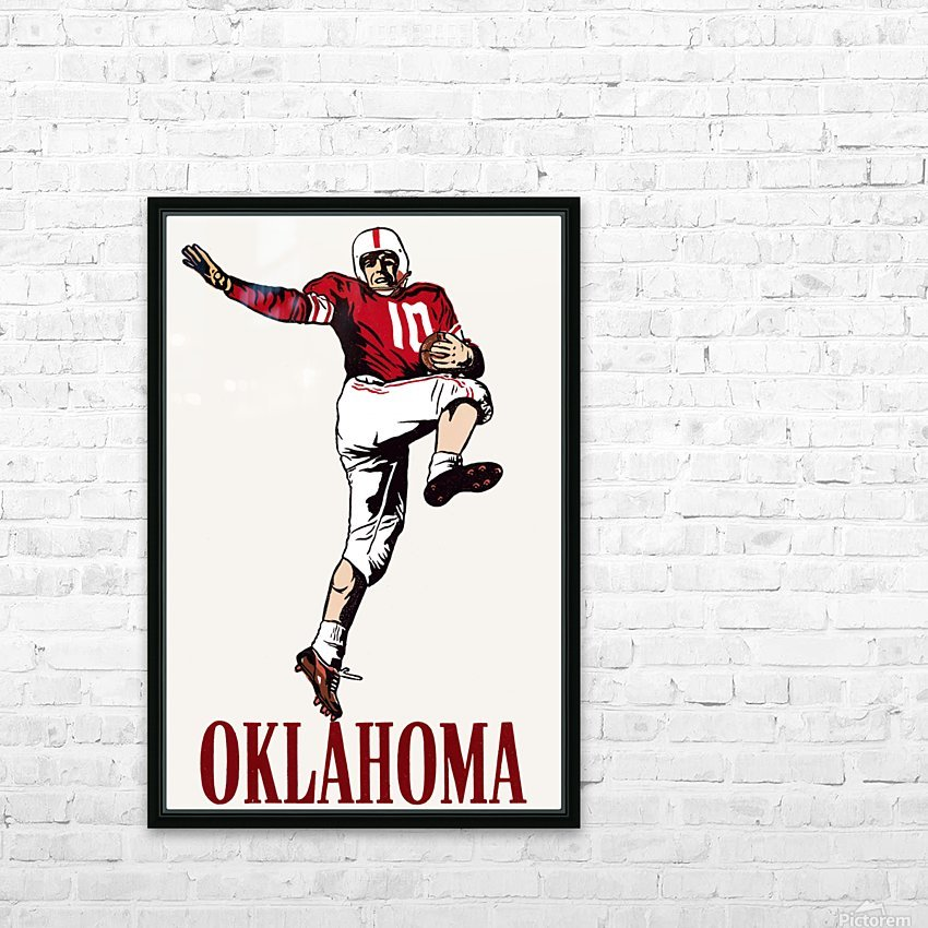 vintage oklahoma sooners football art running back HD Sublimation Metal print with Decorating Float Frame (BOX)