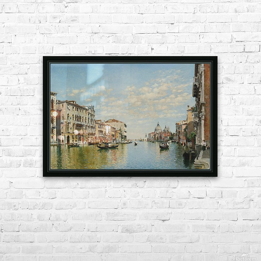 Gondoliers on The Grand Canal in Venice HD Sublimation Metal print with Decorating Float Frame (BOX)
