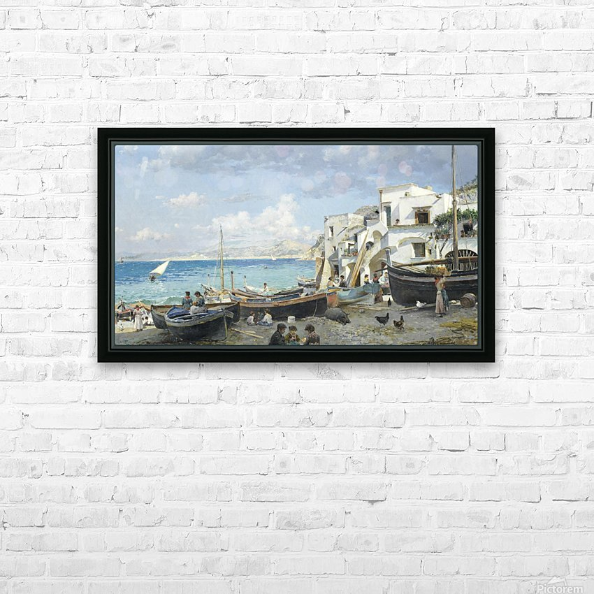 Italian coast with mountains seen in the background HD Sublimation Metal print with Decorating Float Frame (BOX)