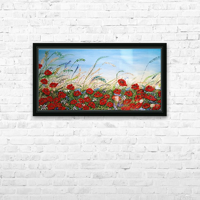 Poppy Field HD Sublimation Metal print with Decorating Float Frame (BOX)