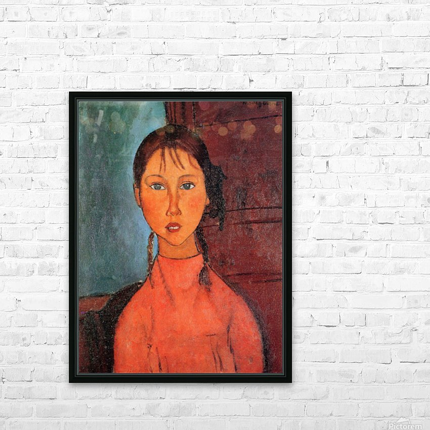 Modigliani - Girl with plaits HD Sublimation Metal print with Decorating Float Frame (BOX)