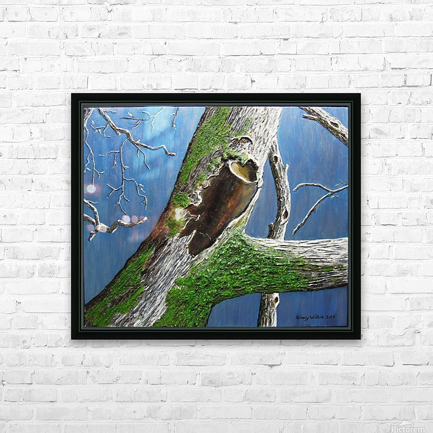 Mossy Branch HD Sublimation Metal print with Decorating Float Frame (BOX)