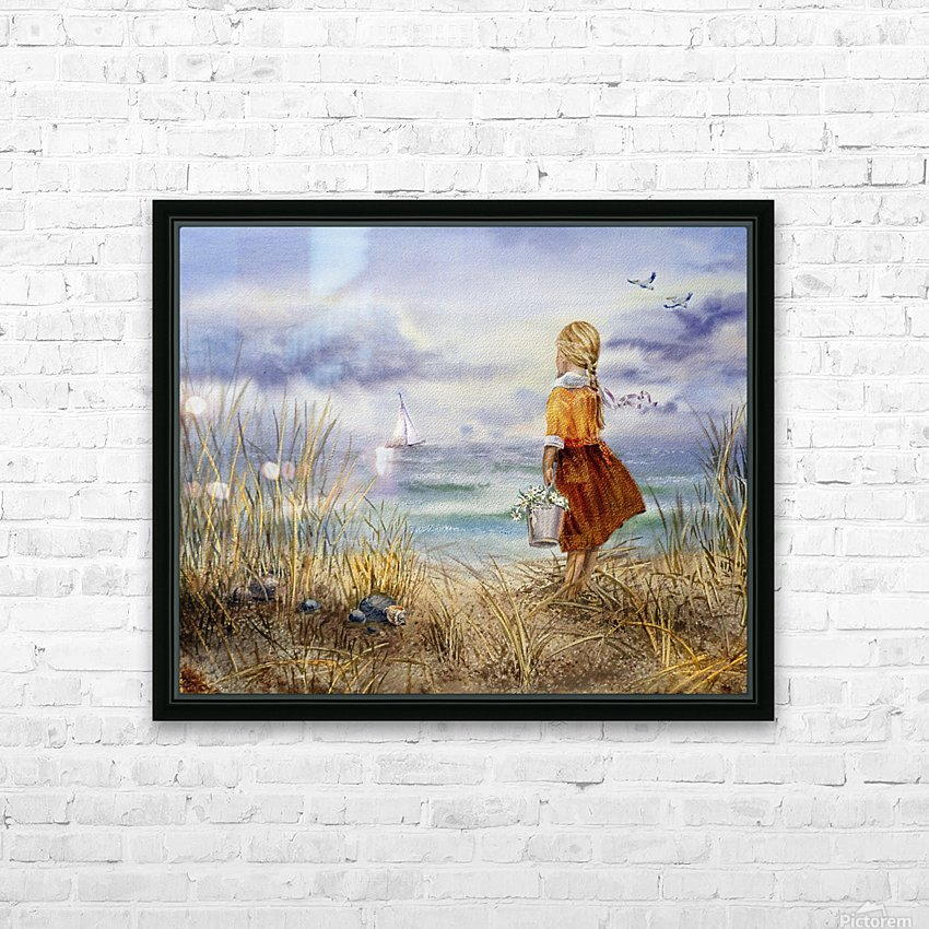 Girl And The Ocean HD Sublimation Metal print with Decorating Float Frame (BOX)
