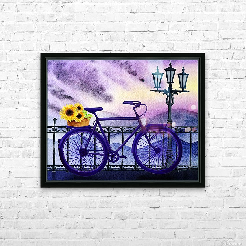 Bicycle And Sunflowers HD Sublimation Metal print with Decorating Float Frame (BOX)