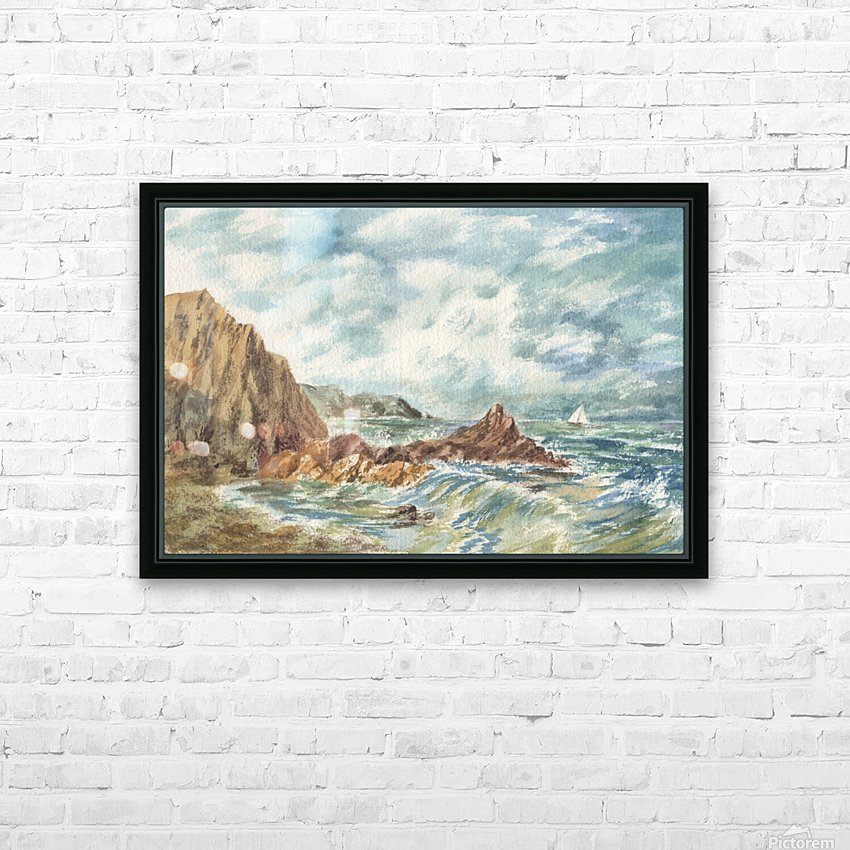 Vintage Storm At Rocky Shore HD Sublimation Metal print with Decorating Float Frame (BOX)