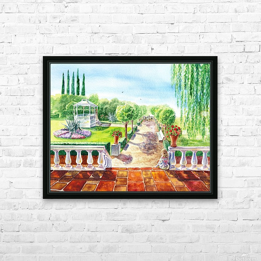 Girl In The Garden HD Sublimation Metal print with Decorating Float Frame (BOX)