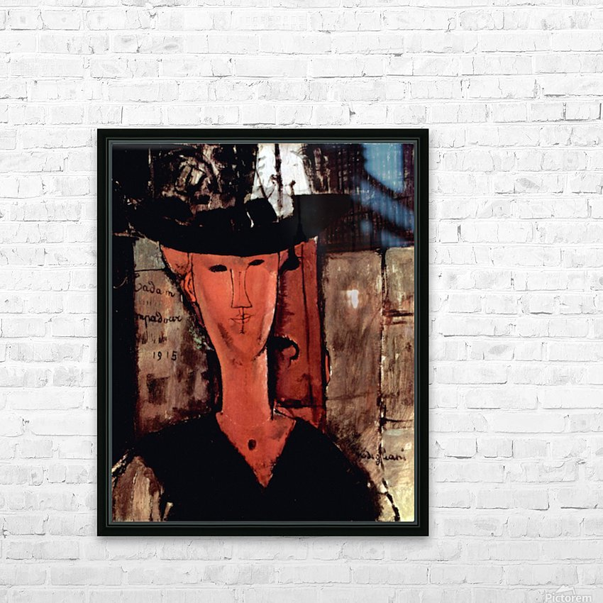Modigliani - Lady With Hat HD Sublimation Metal print with Decorating Float Frame (BOX)