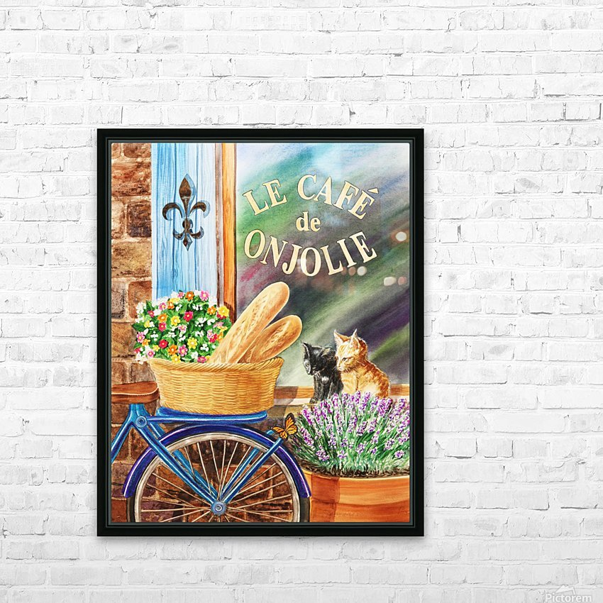 Bicycle With Basket At The Cafe Window HD Sublimation Metal print with Decorating Float Frame (BOX)