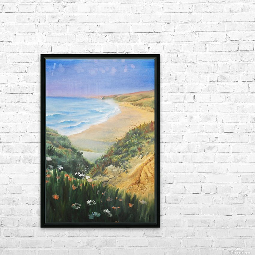 Ocean Shore Through The Hills HD Sublimation Metal print with Decorating Float Frame (BOX)